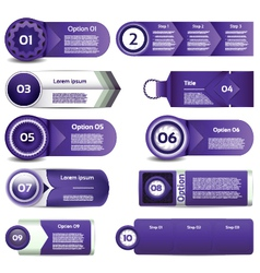 Set of violet progress version step icons eps 10 vector