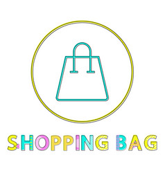 shopping bag glyph color lineout minimalist icon vector image