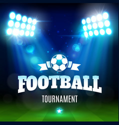 soccer or football stadium field with ball lights vector image