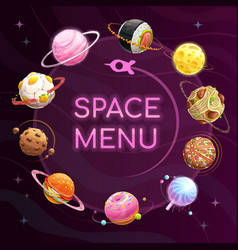 Space menu template food planets poster vector