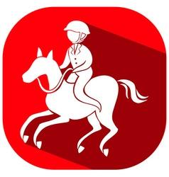 Sport icon design for esquestrain on red tag vector