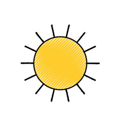 Sun icon colored crayon silhouette vector