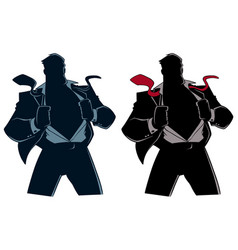 Superhero under cover suit silhouette vector