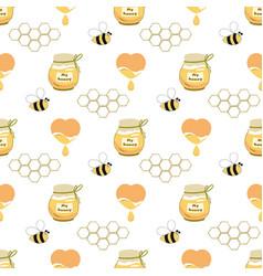 Sweet honey seamless pattern honey jar heart bee vector