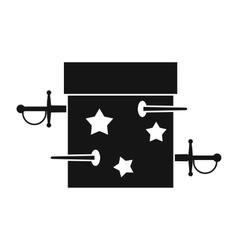 Sword box icon simple style vector image