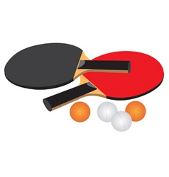 Table tennis equipment black red white and orange vector