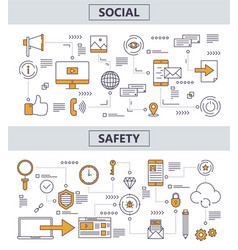 thin line flat design social safety concept vector image