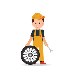 tire service man worker changing tire vector image