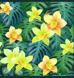 Tropical palm leaves and orchid flowers background vector