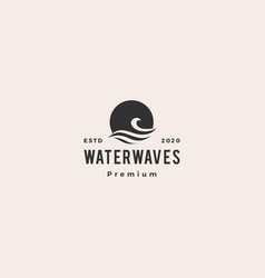 Wave water sea sunset sun logo icon hipster vector