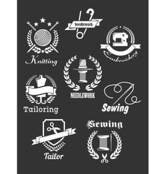 White handicraft icons on black vector