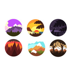 wild nature landscapes in circles collection vector image