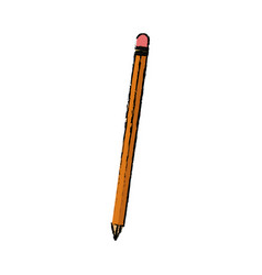 Wooden pencil write utensil supply office vector