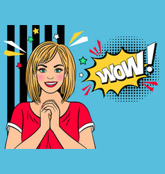 wow amazad retro girl vector image