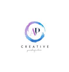 ap letter logo circular purple splash brush vector image