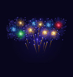 multicolored sparkling fireworks vector image vector image