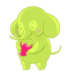 green cartoon elephant hugs pink little bird vector image
