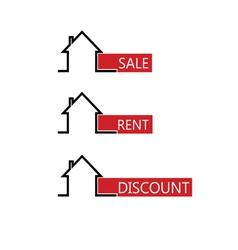 sale rent house color vector image