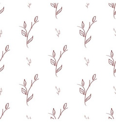 seamless of brown branches with leaves vector image vector image