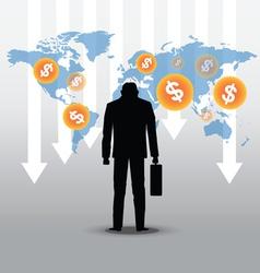 stock market crash with businessman vector image