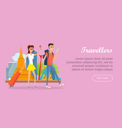 travelers conceptual flat style web banner vector image
