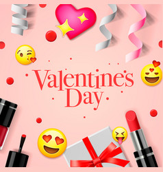 valentines day banner with love emoji icons vector image