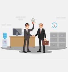 businessman handing a certificate vector image vector image