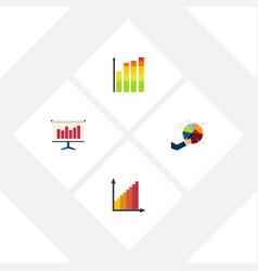 Flat icon diagram set of monitoring statistic vector