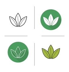 Green tea leaf flat design linear and color icons vector image vector image