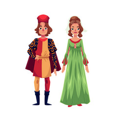 Italian man and woman in renaissance time costumes vector