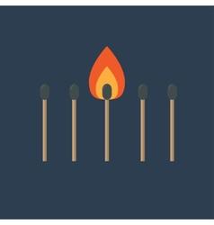 Match set with one burning orange fire light Flat vector image