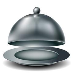 Metal food tray vector image vector image