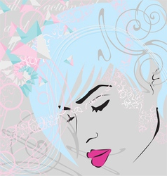 abstract background with girls face vector image