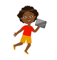 boy running with tablet part of kids and modern vector image vector image