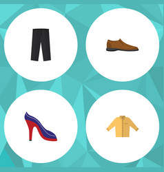 Flat icon clothes set of banyan male footware vector
