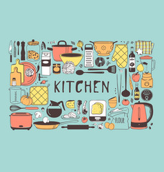 hand drawn cooking tools and dishes vector image