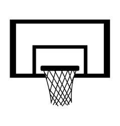 silhouette monochrome with square basketball hoop vector image