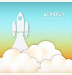 startup concept rocket flying up in sky vector image