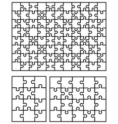 three white puzzles vector image vector image