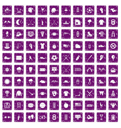 100 baseball icons set grunge purple vector image