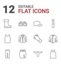 12 wear icons vector image