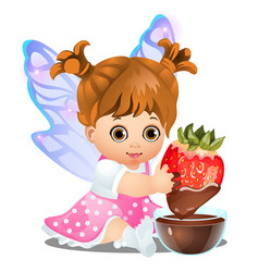 A little happy animated girl with fairy wings vector