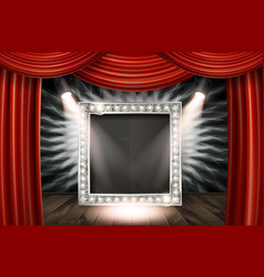 a wooden stage with a red curtain vector image