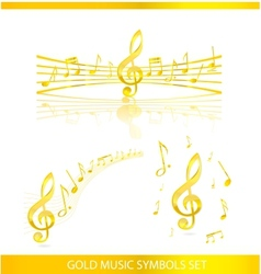 abstract music symbols set gold color vector image