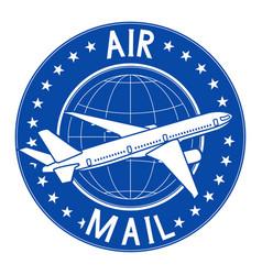 Air mail blue postal sticker or emblem vector