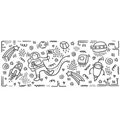 astronaut doodle set space objects and symbols vector image