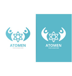 Atom and people logo combination molecule vector
