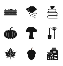 Autumn coming icons set simple style vector