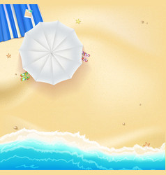 Beach sand sea waves and sun umbrella vector image