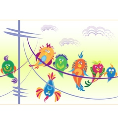 Birds sitting on wires vector